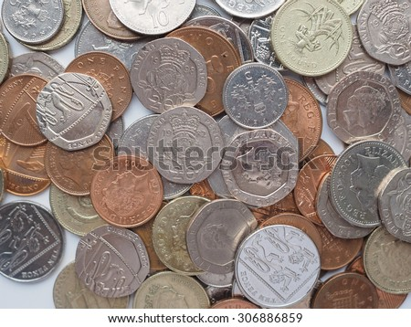 LONDON, UK - AUGUST 01, 2015: British Pound coins currency of the United Kingdom - stock photo