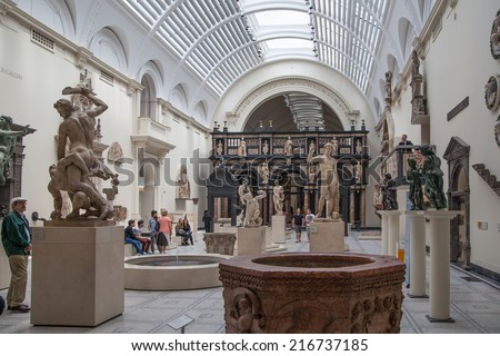 LONDON, UK - AUGUST 24, 2014: Exhibition hall of Victoria and Albert Museum. V&A Museum is the world's largest museum of decorative arts and design. - stock photo