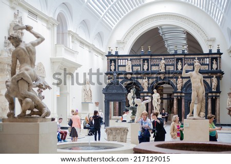 LONDON, UK - AUGUST 24, 2014: Exhibition hall of Victoria and Albert Museum. V&A Museum is the world's largest museum of decorative arts and design.