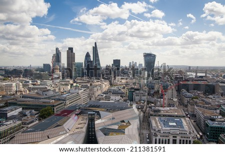 LONDON, UK - AUGUST 9, 2014 London view. City of London one of the leading centres of global finance this view includes Tower 42   - stock photo