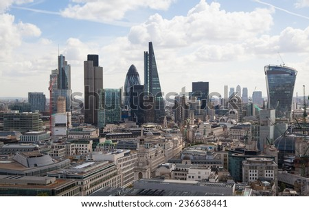 LONDON, UK - AUGUST 9, 2014 London view. City of London one of the leading centres of global finance this view includes Tower 42, Lloyeds bank, Gherkin, Walkie Talkie building and other - stock photo