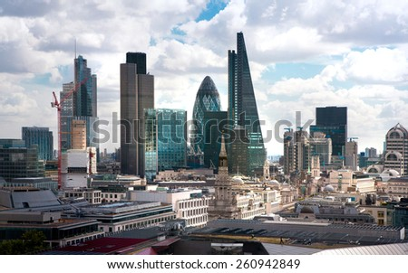 LONDON, UK - AUGUST 9, 2014 London view. City of London one of the leading centres of global finance. View from St. Paul cathedral - stock photo
