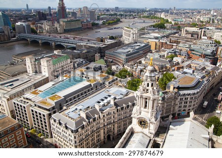 LONDON, UK - AUGUST 9, 2014 London view. City of London one of the leading centres of global finance this view - stock photo