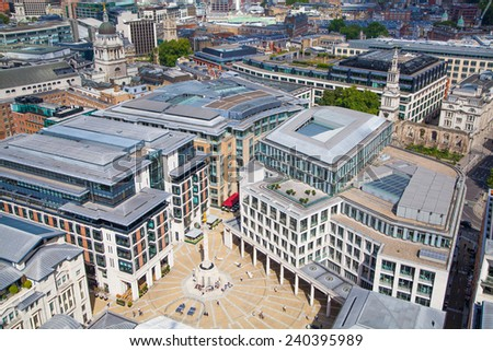 LONDON, UK - AUGUST 9, 2014 London view. City of London the leading centres of global finance. Office buildings with luxury working spaces - stock photo