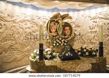 LONDON, UK - AUGUST 13: Memorial do Princess Diana and Dodi Al Fayed in Harrods. The memorial was constructed in 1998, one year after the couple died in a car crash. August 13, 2013 in London. - stock photo