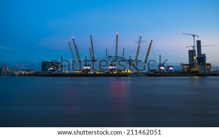 LONDON, UK - August 16, 2014: Millennium Dome at dusk.  It was built to house an exhibition celebrating the beginning of the third millennium. It's now a key feature of The O2
