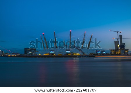 LONDON, UK - August 16, 2014: Millennium Dome at sunset. It was built to house the Millennium Experience, an exhibition celebrating the beginning of the third millennium.