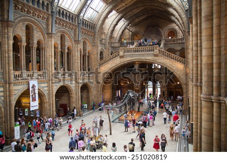 LONDON, UK - AUGUST 11, 2014: National History Museum, is one of the most favourite museum for families in London. - stock photo