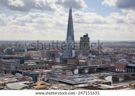 LONDON, UK - AUGUST 9, 2014 Shard of glass. London panorama view from St. Paul cathedral.  - stock photo