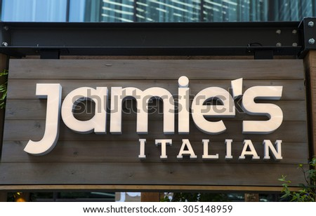 LONDON, UK - AUGUST 7TH 2015: A sign for a Jamies Italian restaurant in central London, on 7th August 2015.