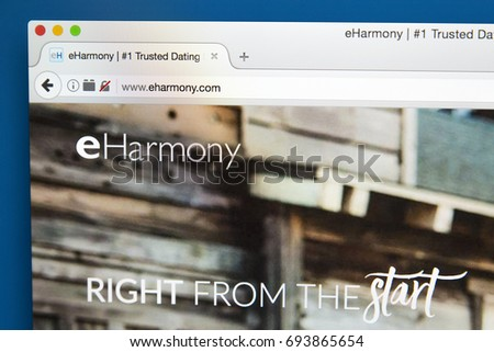 LONDON, UK - AUGUST 7TH 2017: The homepage of the website for eHarmony, the online dating website, on 7th August 2017.