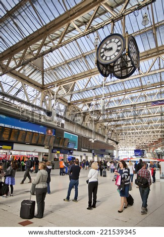 LONDON, UK - AUGUST 24th, 2014 - Waterloo international station train station in London connects most of South England to the city. - stock photo