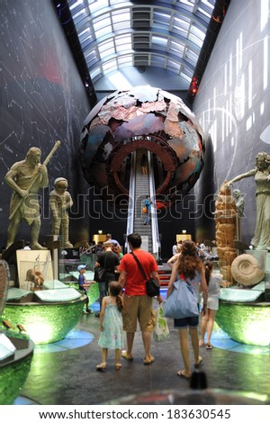 LONDON, UK - AUGUST 18, 2012: The atrium of the Geological Museum (originally The Museum of Practical Geology, started in 1835), it is now part of the Natural History Museum in London. - stock photo