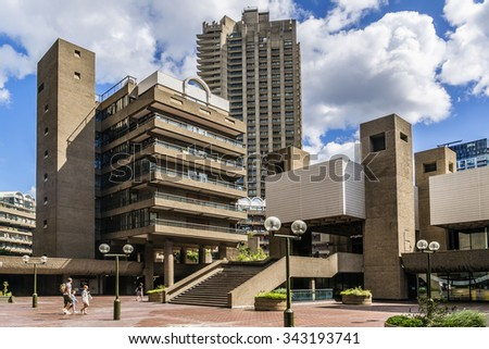 LONDON, UK - AUGUST 11, 2014: The Barbican Center (1982) is a largest performing arts centre in the Europe. Barbican Centre, designed by Chamberlin, Powell and Bon in the famous Brutalist style. - stock photo