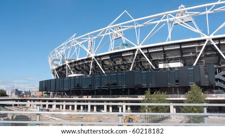 LONDON, UK-AUGUST 29: The Olympic Stadium Under Construction Ready For The 2012 Olympic Games Which Will Be Held In The City Of London, August 29, 2010 - stock photo
