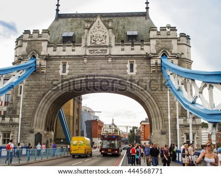 London, UK - August 21, 2011: Tower Bridge in London. One of the most famous bridges in the world. - stock photo