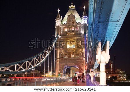 LONDON, UK - AUGUST 11, 2014: Tower bridge on the river Thames in night lights - stock photo