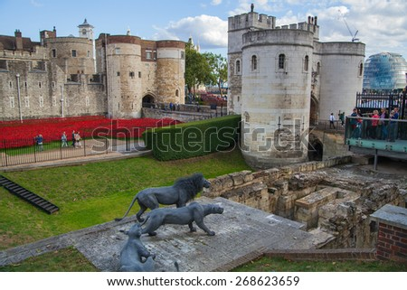 LONDON, UK - AUGUST 16, 2014: Tower of London. Castle surround by red remembrance poppy - stock photo