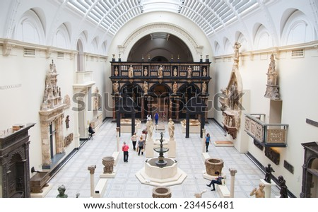 LONDON, UK - AUGUST 24, 2014: Victoria and Albert Museum exhibition hall. V&A Museum is the world's largest museum of decorative arts and design. - stock photo