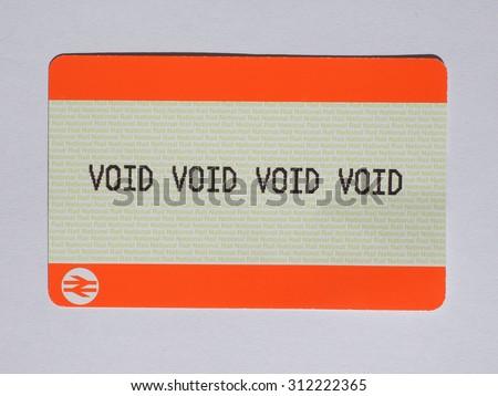 LONDON, UK - AUGUST 19, 2015: void void void void blank train ticket of the National Railways - stock photo
