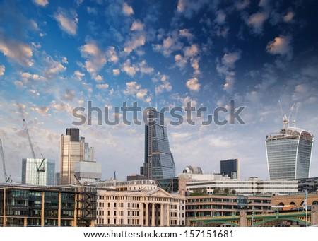 London, UK. Beautiful sunset view of city modern skyline. - stock photo