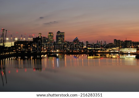 London UK business district from Docklands at dusk