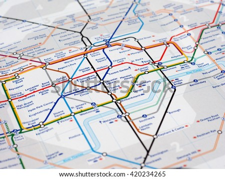 LONDON, UK - CIRCA APRIL 2016: Detail of the tube map with selective focus on central London stations