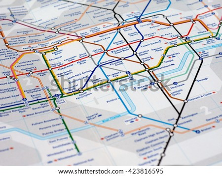 LONDON, UK - CIRCA APRIL 2016: Detail of the tube map with selective focus on Central, Northern, Piccadilly and Jubilee lines