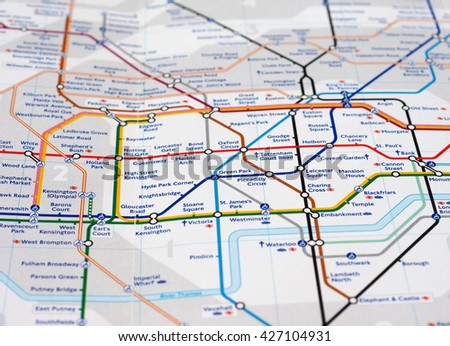 LONDON, UK - CIRCA APRIL 2016: Detail of the tube map with selective focus on central zone 1 station