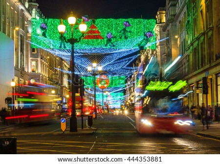 LONDON, UK - CIRCA DECEMBER 2011: Christmas illuminations at Regent Street at night. - stock photo