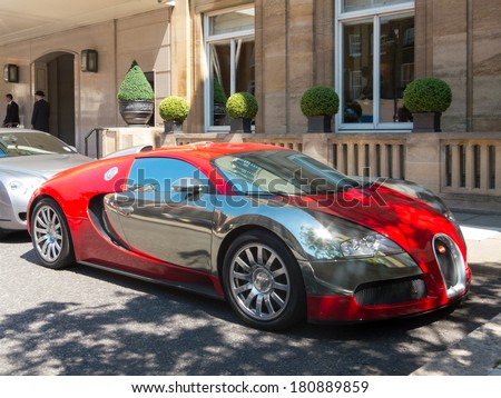 London, UK - CIRCA JULY 2012: A Bugatti Veyron is parked in front of the Berkeley hotel - stock photo