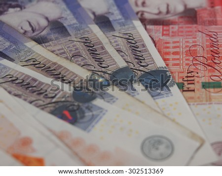 LONDON, UK - CIRCA JULY 2015: British sterling pound GBP banknotes, currency of the United Kingdom - stock photo