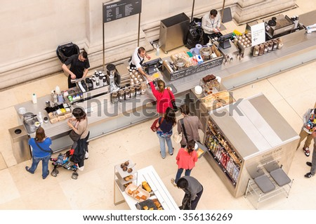 LONDON, UK - CIRCA JULY 2012: Overhead view of the Court Cafe at the British Museum. - stock photo