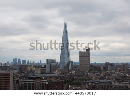 LONDON, UK - CIRCA JUNE 2016: The Shard skyscraper designed by Italian architect Renzo Piano is the highest building in town