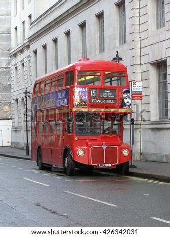 LONDON, UK - CIRCA NOVEMBER 2009: red double decker in London - stock photo