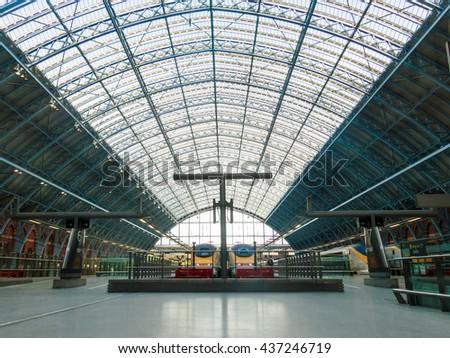 LONDON, UK - CIRCA OCTOBER 2013: Eurostar trains at St Pancras International station - stock photo