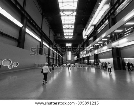 LONDON, UK - CIRCA SEPTEMBER 2015: Tate Modern art gallery in South Bank power station - wide angle in black and white