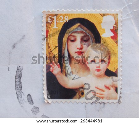 LONDON, UK - CIRCA 2012 - St Mary and Child on a stamp - stock photo