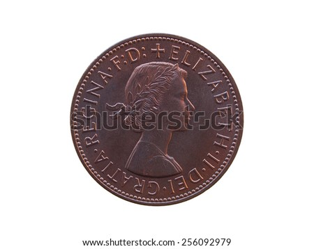 LONDON, UK - CIRCA 1965: Sterling Pound coin (GBP) bearing the portrait of Her Majesty Queen Elizabeth II - stock photo