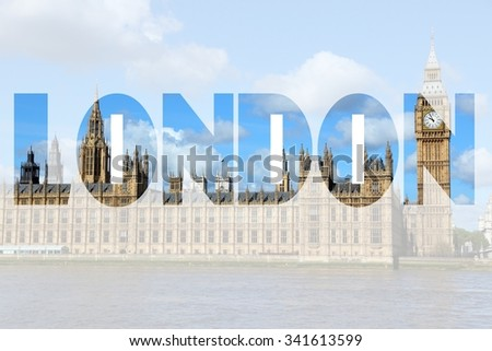 London UK - city name word with photo in background. - stock photo