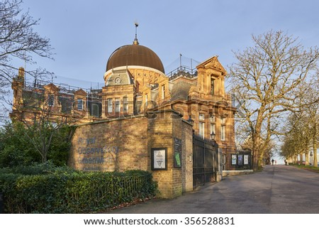 LONDON, UK - DECEMBER 28: Back of the Royal Observatory Greenwich, next to the meridian line. December 28, 2015 in London. - stock photo
