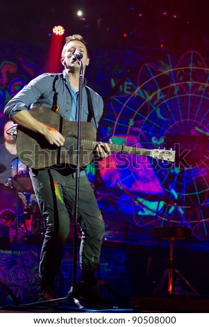 LONDON, UK - DECEMBER 9: Coldplay perform to a sell out crowd in the O2 arena, on the December 9, 2011 in London, UK - stock photo