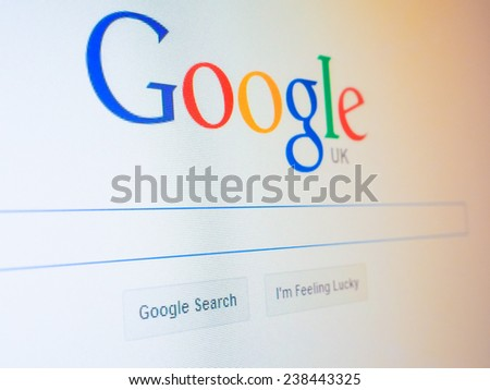 LONDON, UK - DECEMBER 15, 2014: Home page of Google search engine - stock photo