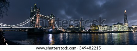 LONDON,UK - December 7, 2015: Panoramic view over Southwark, City Hall and Tower Bridge seen from Tower of London in London, UK.