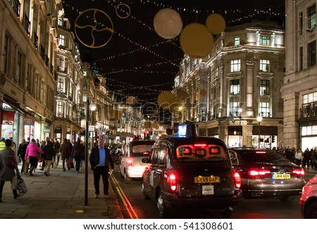 LONDON, UK - DECEMBER 11TH 2015: A view of a busy Oxford Street during the lead up to Christmas in London, on 11th December 2015.