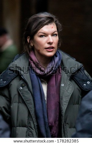 LONDON, UK - FEB 15:Milla Jovovich spotted filming her latest moviein London on the Feb 15, 2013 in London, UK - stock photo