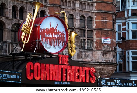 LONDON, UK - FEB 2ND 2014: The Palace Theatre in central London advertising its show The Commitments on 2nd February 2014