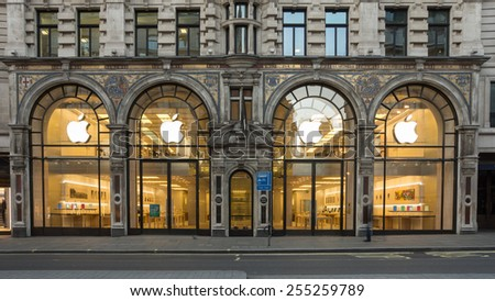LONDON, UK - February15  2015:Apple's flagship store in the UK on regent st London