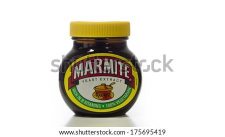 LONDON ,UK - FEBRUARY 9, 2014 :Marmite jar isolated on white background - stock photo