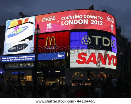 """LONDON, UK - 28 FEBRUARY 2009 Piccadilly Circus in London displaying """"Countdown to London 2012"""", referring to the upcoming Olympics to be held in the city. - stock photo"""